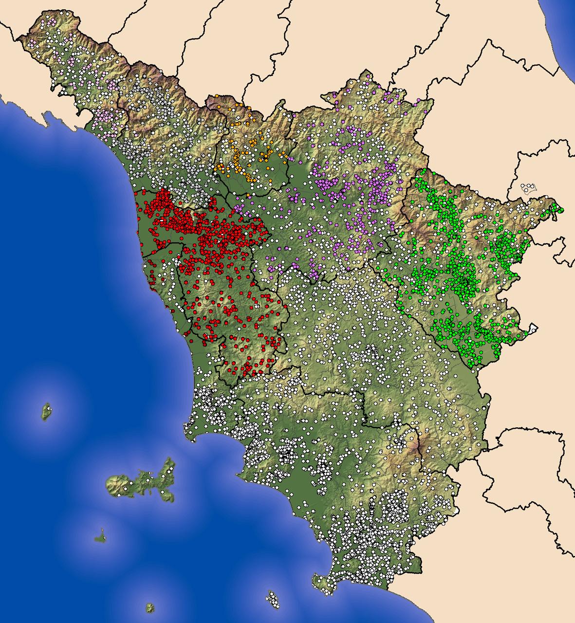 Toscana Fisica Cartina.La Scala Macro Del Contesto Toscano Modello Continuista E Geografia Del Potere Castello Di Miranduolo