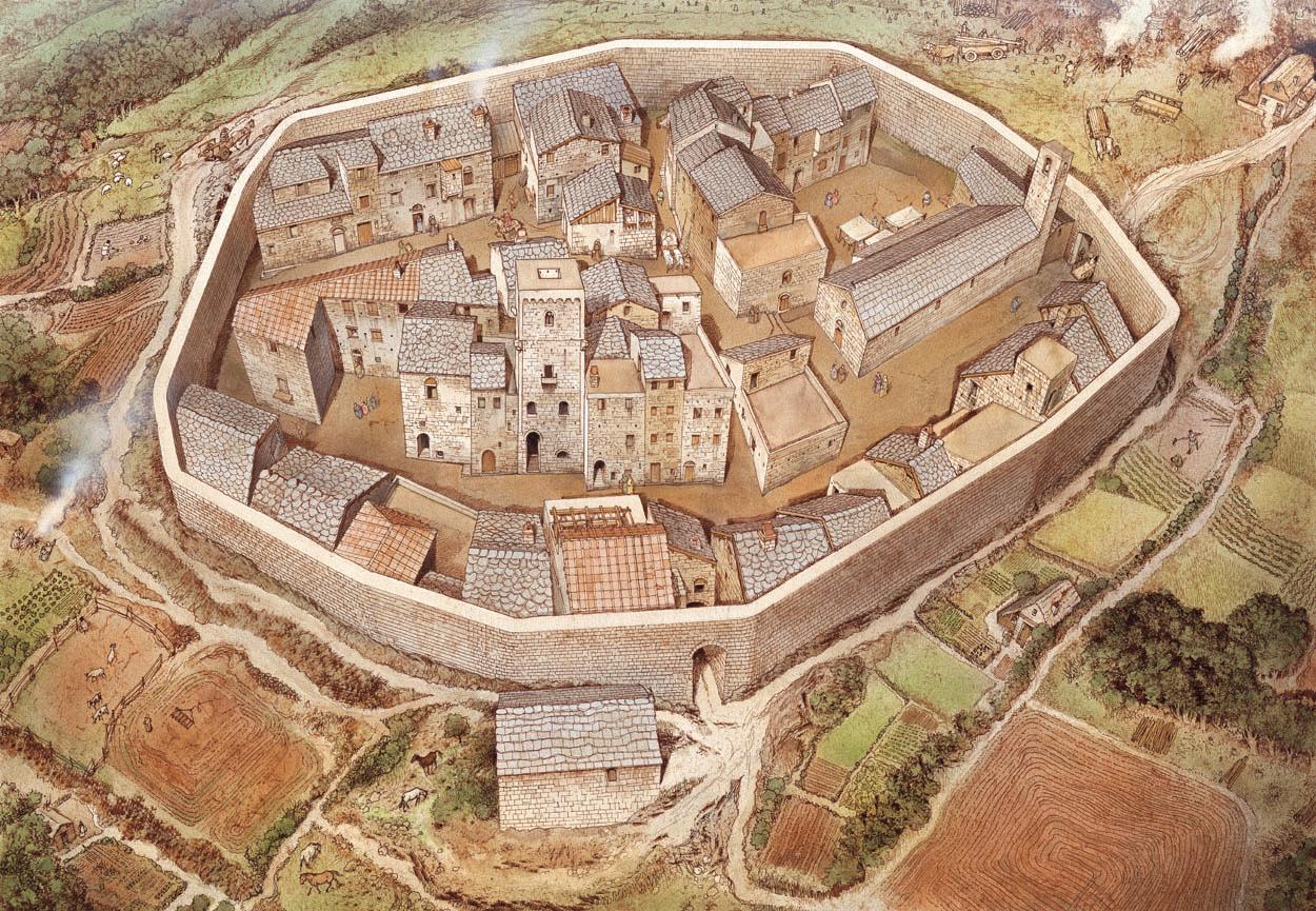 Il castello di <b>Chiusdino</b> tra XII e XIII secolo (ricostruzione grafica ...