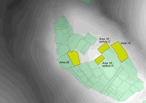 Le aree scavate nel corso della campagna 2015