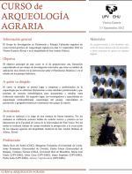 Curso de Arqueologia Agraria, Vitoria-Gasteiz, 3-7 Septiembre 2012