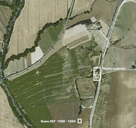 Territorio di Santa Cristina. In evidenza l'area dello scavo degli anni '90
